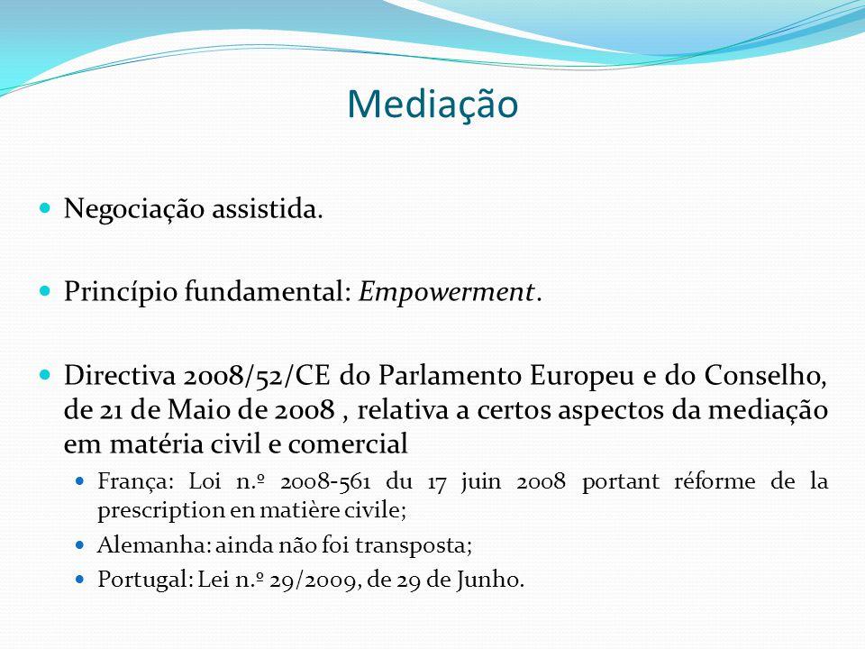Mediação Negociação assistida. Princípio fundamental: Empowerment. Directiva 2008/52/CE do Parlamento Europeu e do Conselho, de 21 de Maio de 2008, re