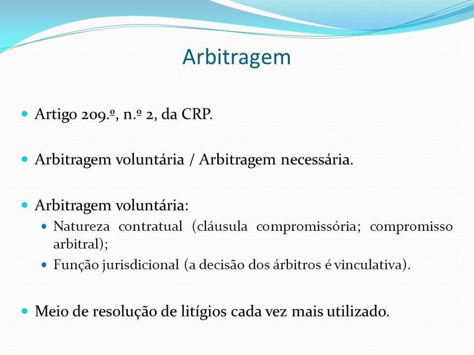 Arbitragem Artigo 209.º, n.º 2, da CRP. Arbitragem voluntária / Arbitragem necessária. Arbitragem voluntária: Natureza contratual (cláusula compromiss