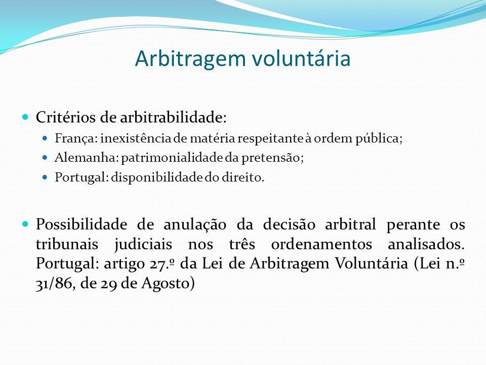 Arbitragem voluntária Critérios de arbitrabilidade: França: inexistência de matéria respeitante à ordem pública; Alemanha: patrimonialidade da pretens