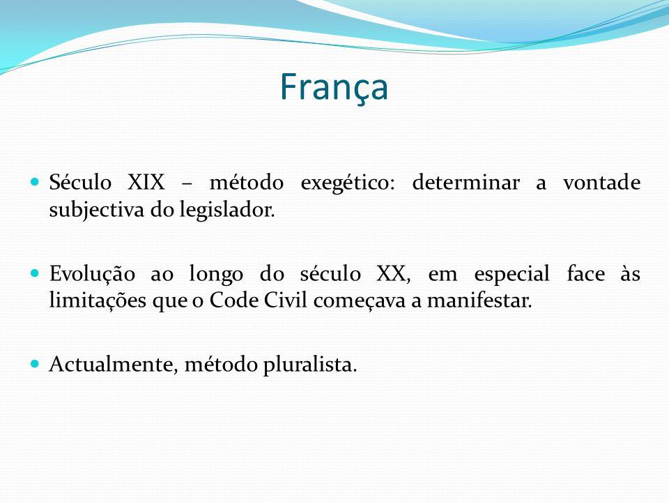 França Século XIX – método exegético: determinar a vontade subjectiva do legislador. Evolução ao longo do século XX, em especial face às limitações qu