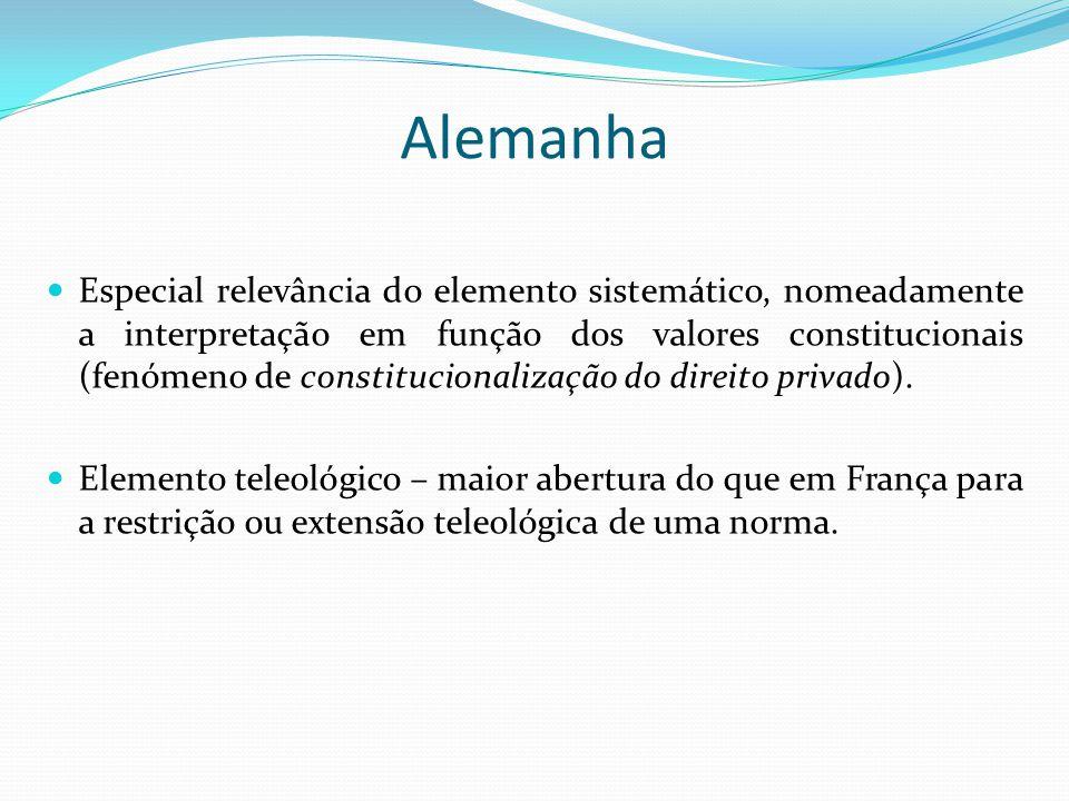 Alemanha Especial relevância do elemento sistemático, nomeadamente a interpretação em função dos valores constitucionais (fenómeno de constitucionaliz