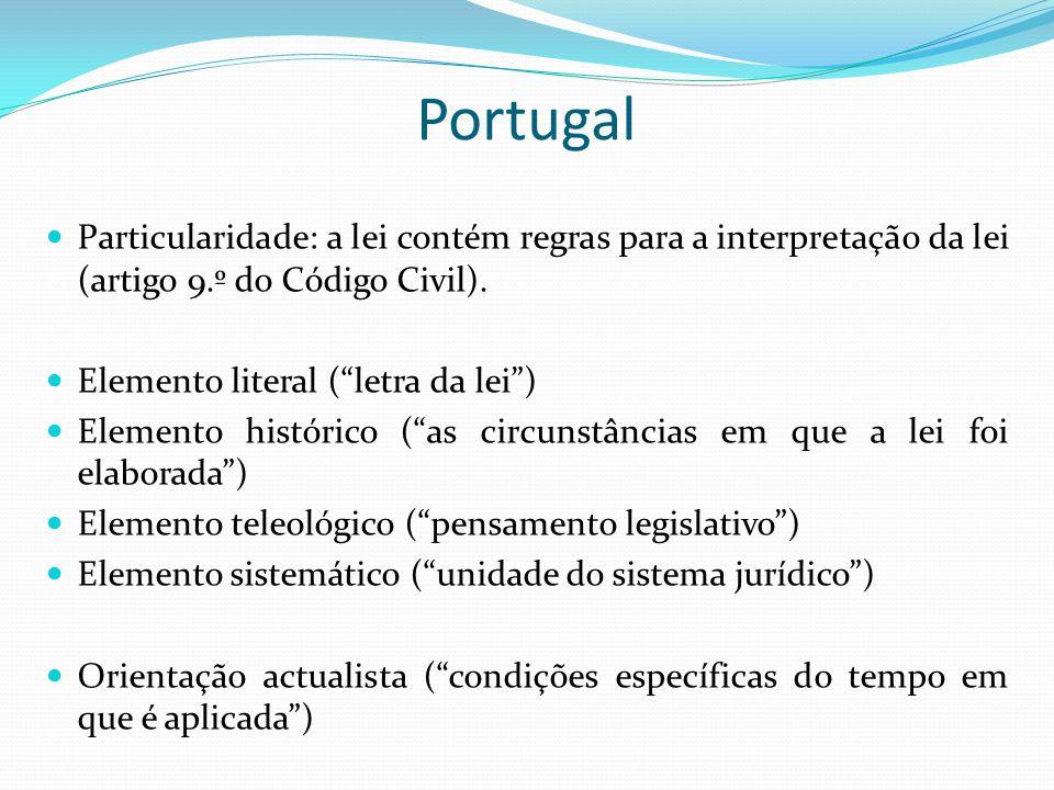 Portugal Particularidade: a lei contém regras para a interpretação da lei (artigo 9.º do Código Civil). Elemento literal (letra da lei) Elemento histó