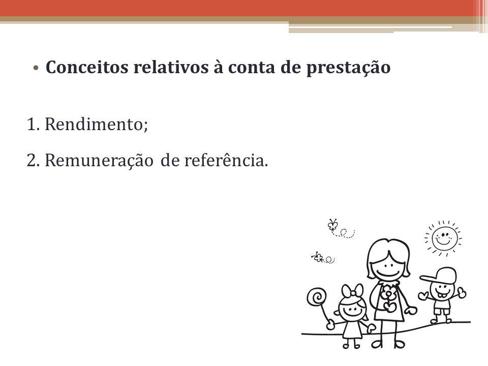 Conceitos relativos à conta de prestação 1. Rendimento; 2. Remuneração de referência.