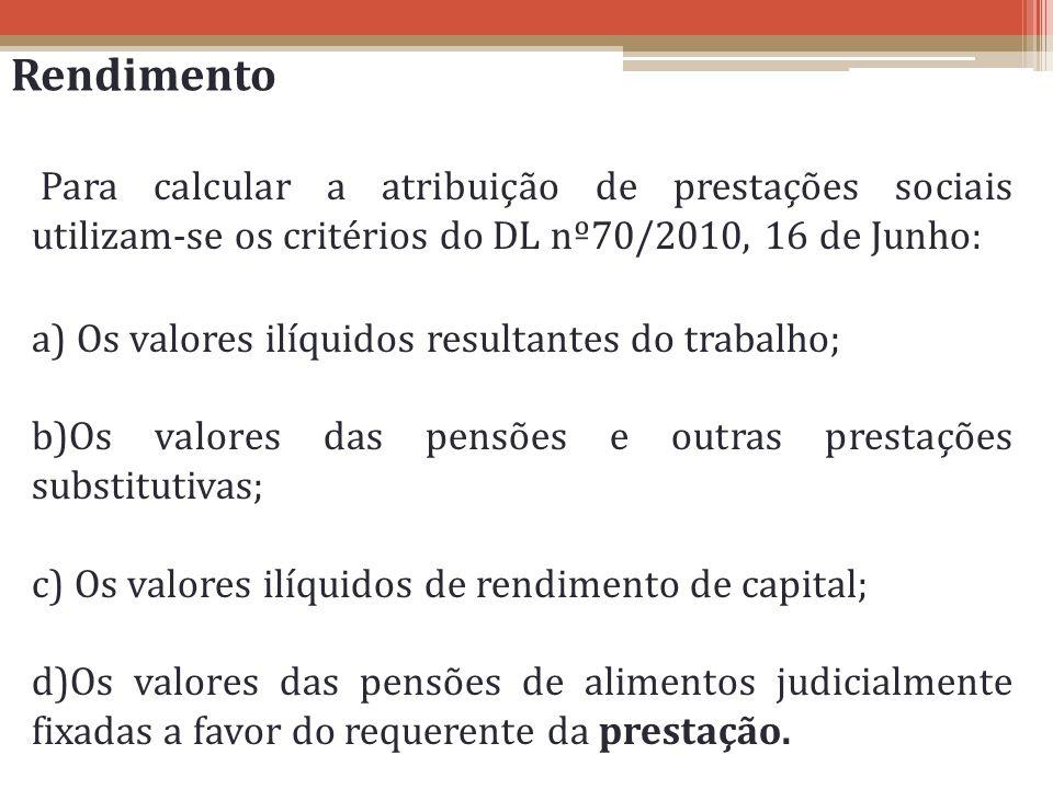 Rendimento Para calcular a atribuição de prestações sociais utilizam-se os critérios do DL nº70/2010, 16 de Junho: a) Os valores ilíquidos resultantes