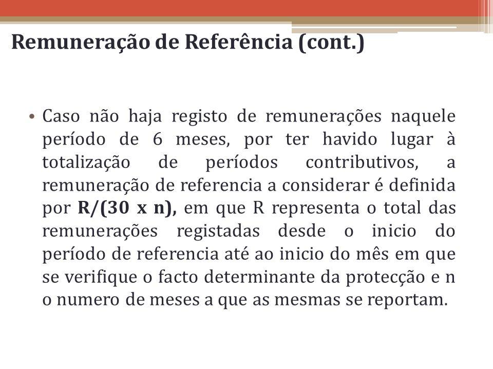 Remuneração de Referência (cont.) Caso não haja registo de remunerações naquele período de 6 meses, por ter havido lugar à totalização de períodos con