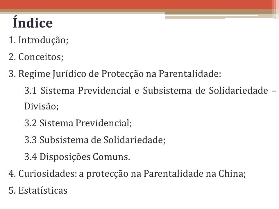 Índice 1. Introdução; 2. Conceitos; 3. Regime Jurídico de Protecção na Parentalidade: 3.1 Sistema Previdencial e Subsistema de Solidariedade – Divisão