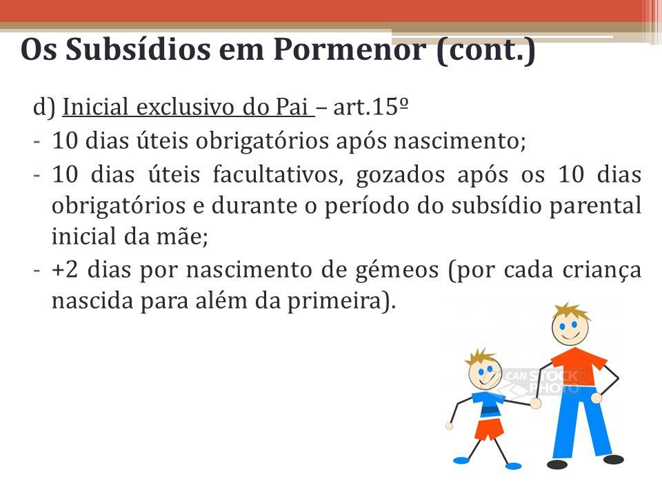 Os Subsídios em Pormenor (cont.) d) Inicial exclusivo do Pai – art.15º -10 dias úteis obrigatórios após nascimento; -10 dias úteis facultativos, gozad