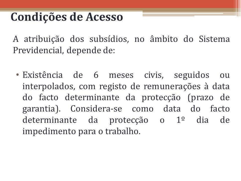 Condições de Acesso A atribuição dos subsídios, no âmbito do Sistema Previdencial, depende de: Existência de 6 meses civis, seguidos ou interpolados,