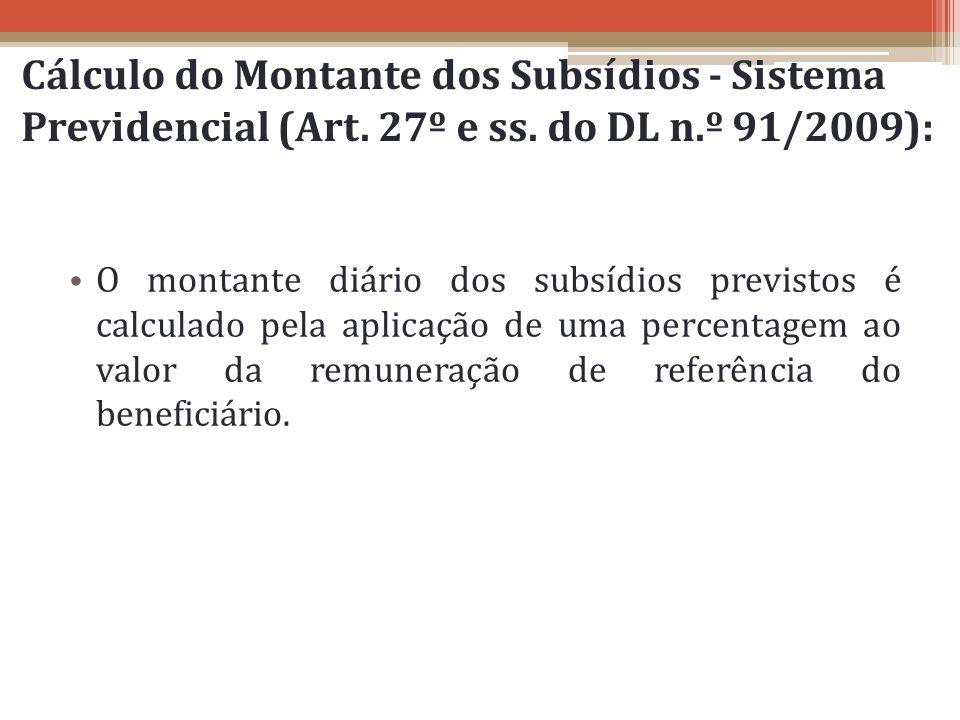 Cálculo do Montante dos Subsídios - Sistema Previdencial (Art. 27º e ss. do DL n.º 91/2009): O montante diário dos subsídios previstos é calculado pel
