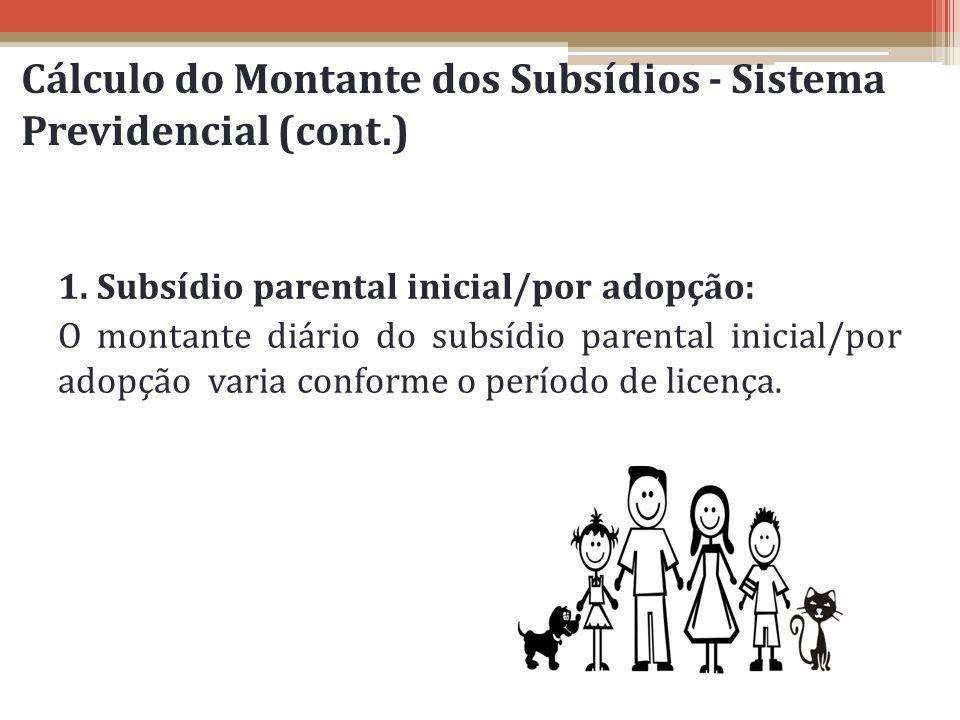 Cálculo do Montante dos Subsídios - Sistema Previdencial (cont.) 1. Subsídio parental inicial/por adopção: O montante diário do subsídio parental inic