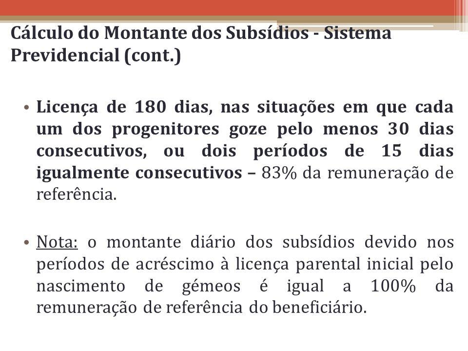 Cálculo do Montante dos Subsídios - Sistema Previdencial (cont.) Licença de 180 dias, nas situações em que cada um dos progenitores goze pelo menos 30
