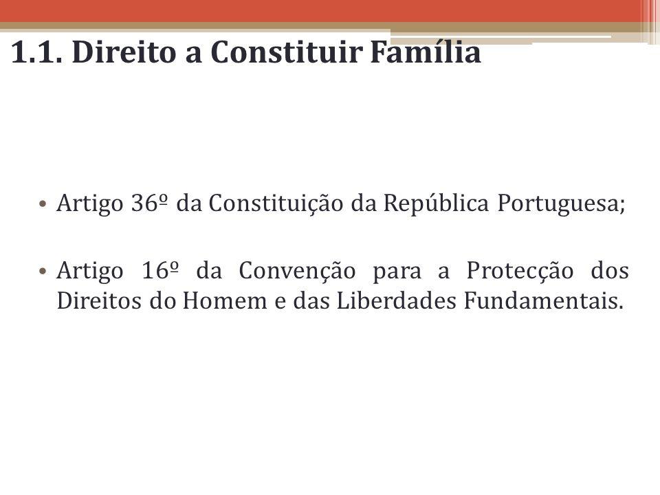 1.1. Direito a Constituir Família Artigo 36º da Constituição da República Portuguesa; Artigo 16º da Convenção para a Protecção dos Direitos do Homem e