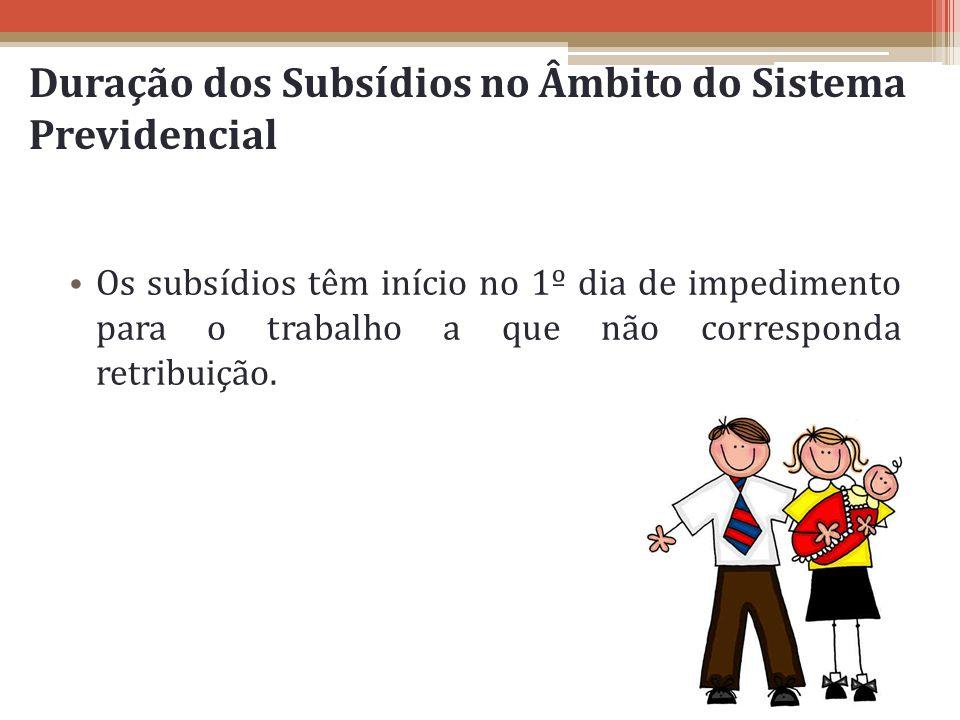 Duração dos Subsídios no Âmbito do Sistema Previdencial Os subsídios têm início no 1º dia de impedimento para o trabalho a que não corresponda retribu