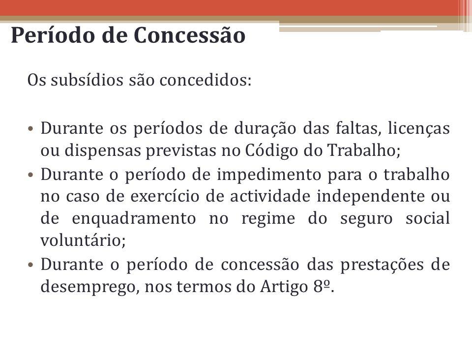 Período de Concessão Os subsídios são concedidos: Durante os períodos de duração das faltas, licenças ou dispensas previstas no Código do Trabalho; Du