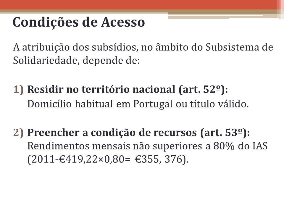 Condições de Acesso A atribuição dos subsídios, no âmbito do Subsistema de Solidariedade, depende de: 1)Residir no território nacional (art. 52º): Dom