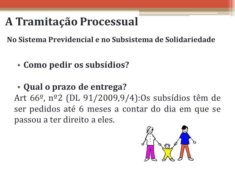 A Tramitação Processual Como pedir os subsídios? Qual o prazo de entrega? Art 66º, nº2 (DL 91/2009,9/4):Os subsídios têm de ser pedidos até 6 meses a