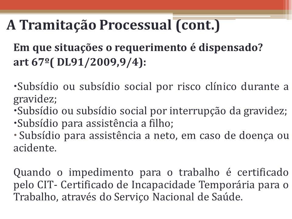 Em que situações o requerimento é dispensado? art 67º( DL91/2009,9/4): Subsídio ou subsídio social por risco clínico durante a gravidez; Subsídio ou s