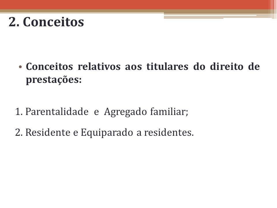 2. Conceitos Conceitos relativos aos titulares do direito de prestações: 1. Parentalidade e Agregado familiar; 2. Residente e Equiparado a residentes.