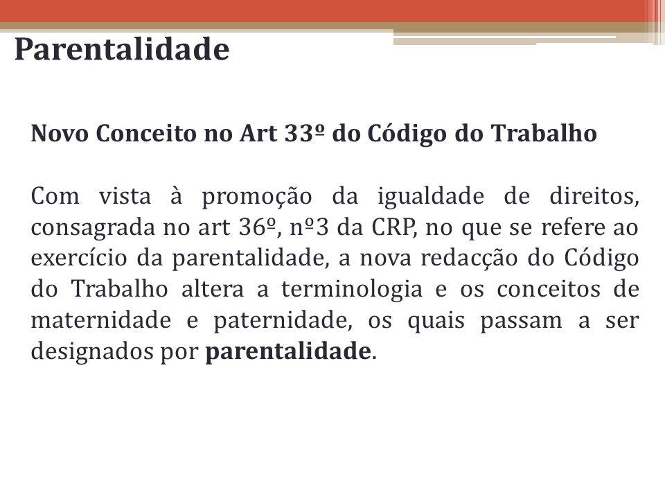 Parentalidade Novo Conceito no Art 33º do Código do Trabalho Com vista à promoção da igualdade de direitos, consagrada no art 36º, nº3 da CRP, no que
