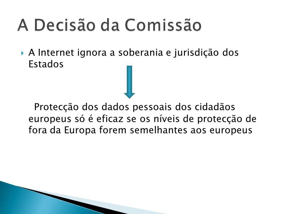 A Internet ignora a soberania e jurisdição dos Estados Protecção dos dados pessoais dos cidadãos europeus só é eficaz se os níveis de protecção de fora da Europa forem semelhantes aos europeus