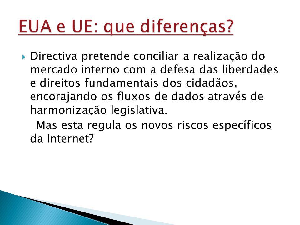 Directiva pretende conciliar a realização do mercado interno com a defesa das liberdades e direitos fundamentais dos cidadãos, encorajando os fluxos de dados através de harmonização legislativa.
