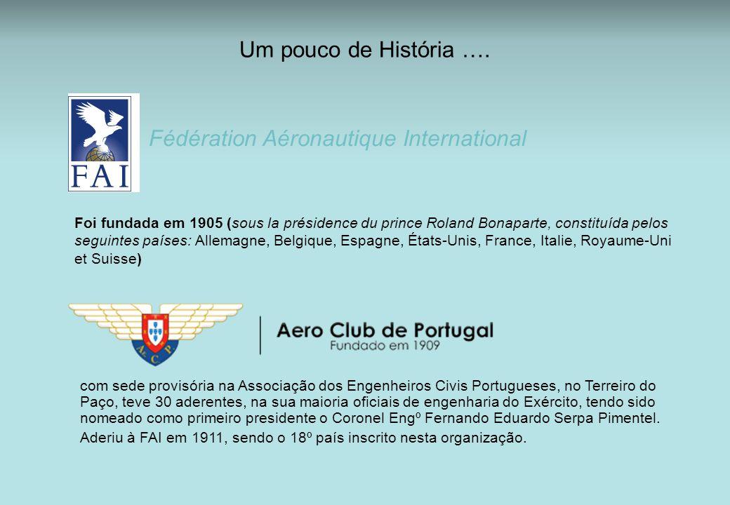Um pouco de História …. Fédération Aéronautique International Foi fundada em 1905 (sous la présidence du prince Roland Bonaparte, constituída pelos se