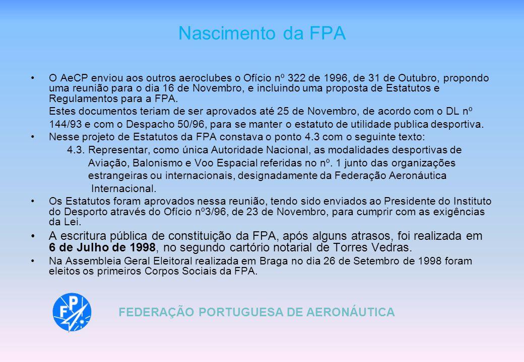 Nascimento da FPA O AeCP enviou aos outros aeroclubes o Ofício nº 322 de 1996, de 31 de Outubro, propondo uma reunião para o dia 16 de Novembro, e incluindo uma proposta de Estatutos e Regulamentos para a FPA.