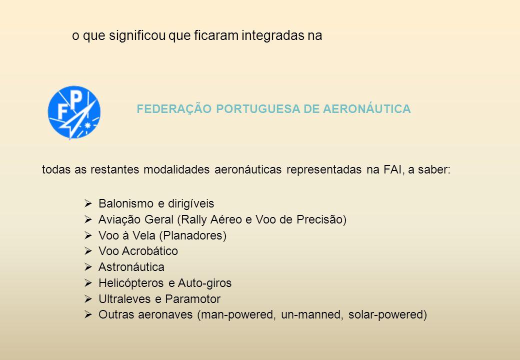 o que significou que ficaram integradas na FEDERAÇÃO PORTUGUESA DE AERONÁUTICA todas as restantes modalidades aeronáuticas representadas na FAI, a sab