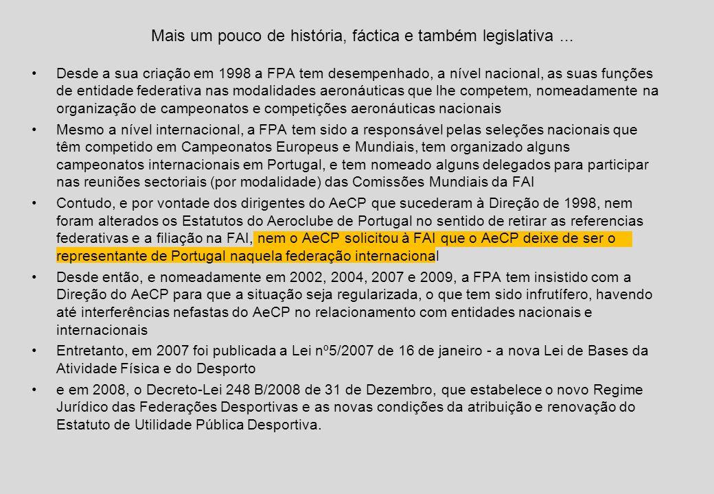 Desde a sua criação em 1998 a FPA tem desempenhado, a nível nacional, as suas funções de entidade federativa nas modalidades aeronáuticas que lhe competem, nomeadamente na organização de campeonatos e competições aeronáuticas nacionais Mesmo a nível internacional, a FPA tem sido a responsável pelas seleções nacionais que têm competido em Campeonatos Europeus e Mundiais, tem organizado alguns campeonatos internacionais em Portugal, e tem nomeado alguns delegados para participar nas reuniões sectoriais (por modalidade) das Comissões Mundiais da FAI Contudo, e por vontade dos dirigentes do AeCP que sucederam à Direção de 1998, nem foram alterados os Estatutos do Aeroclube de Portugal no sentido de retirar as referencias federativas e a filiação na FAI, nem o AeCP solicitou à FAI que o AeCP deixe de ser o representante de Portugal naquela federação internacional Desde então, e nomeadamente em 2002, 2004, 2007 e 2009, a FPA tem insistido com a Direção do AeCP para que a situação seja regularizada, o que tem sido infrutífero, havendo até interferências nefastas do AeCP no relacionamento com entidades nacionais e internacionais Entretanto, em 2007 foi publicada a Lei nº5/2007 de 16 de janeiro - a nova Lei de Bases da Atividade Física e do Desporto e em 2008, o Decreto-Lei 248 B/2008 de 31 de Dezembro, que estabelece o novo Regime Jurídico das Federações Desportivas e as novas condições da atribuição e renovação do Estatuto de Utilidade Pública Desportiva.