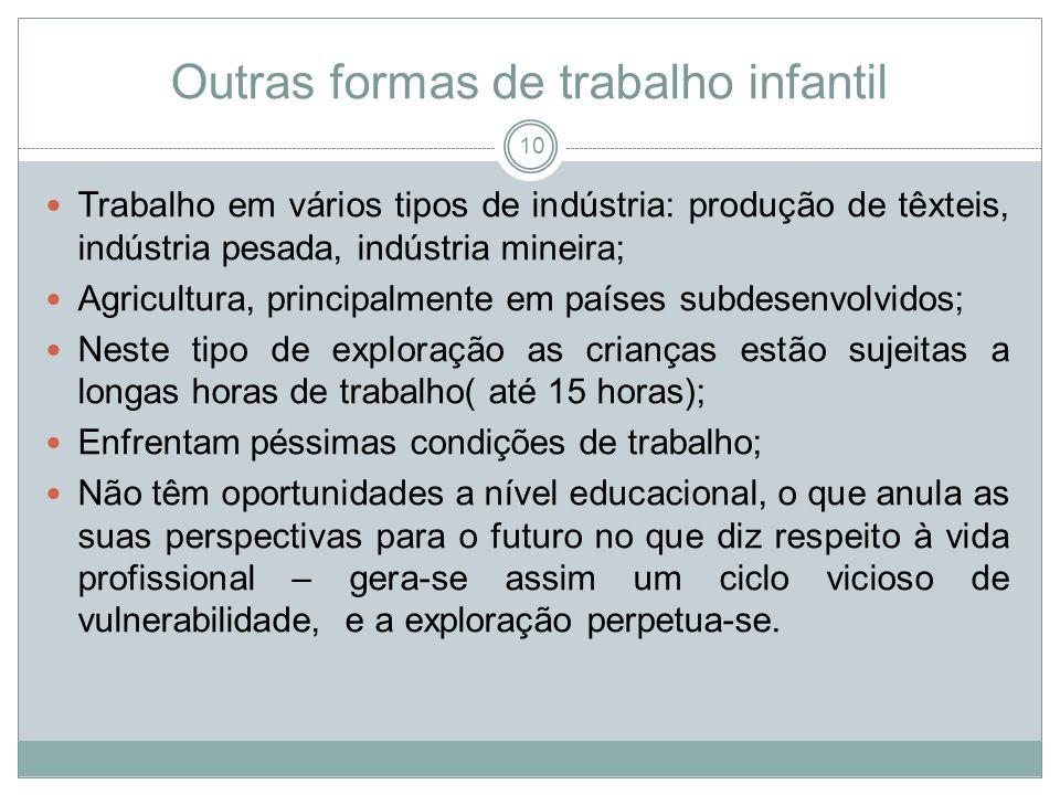Outras formas de trabalho infantil Trabalho em vários tipos de indústria: produção de têxteis, indústria pesada, indústria mineira; Agricultura, princ