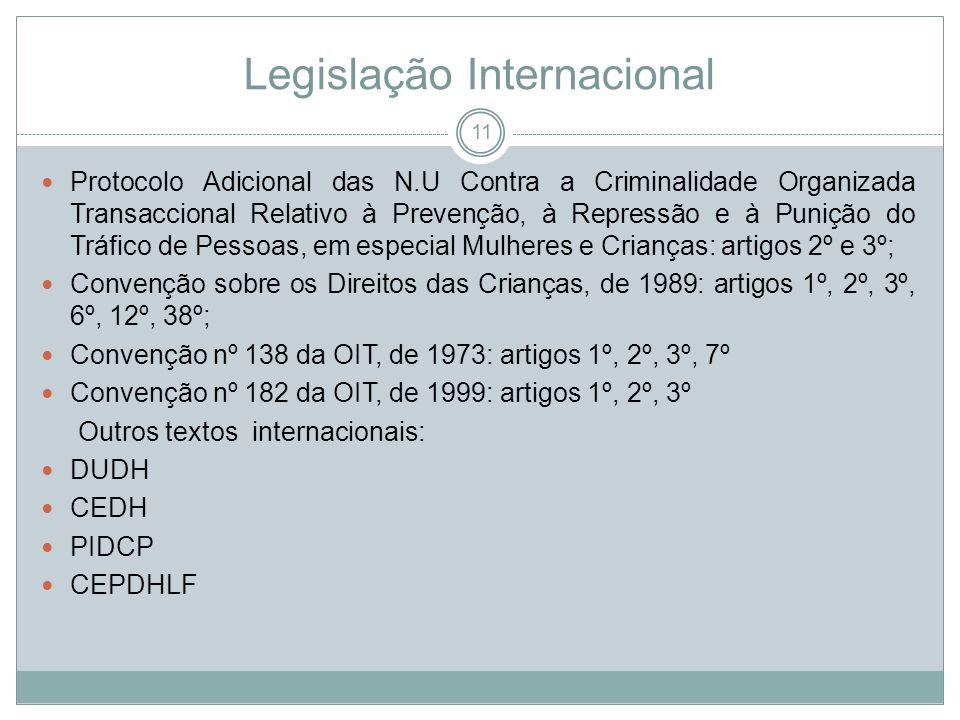 Legislação Internacional Protocolo Adicional das N.U Contra a Criminalidade Organizada Transaccional Relativo à Prevenção, à Repressão e à Punição do