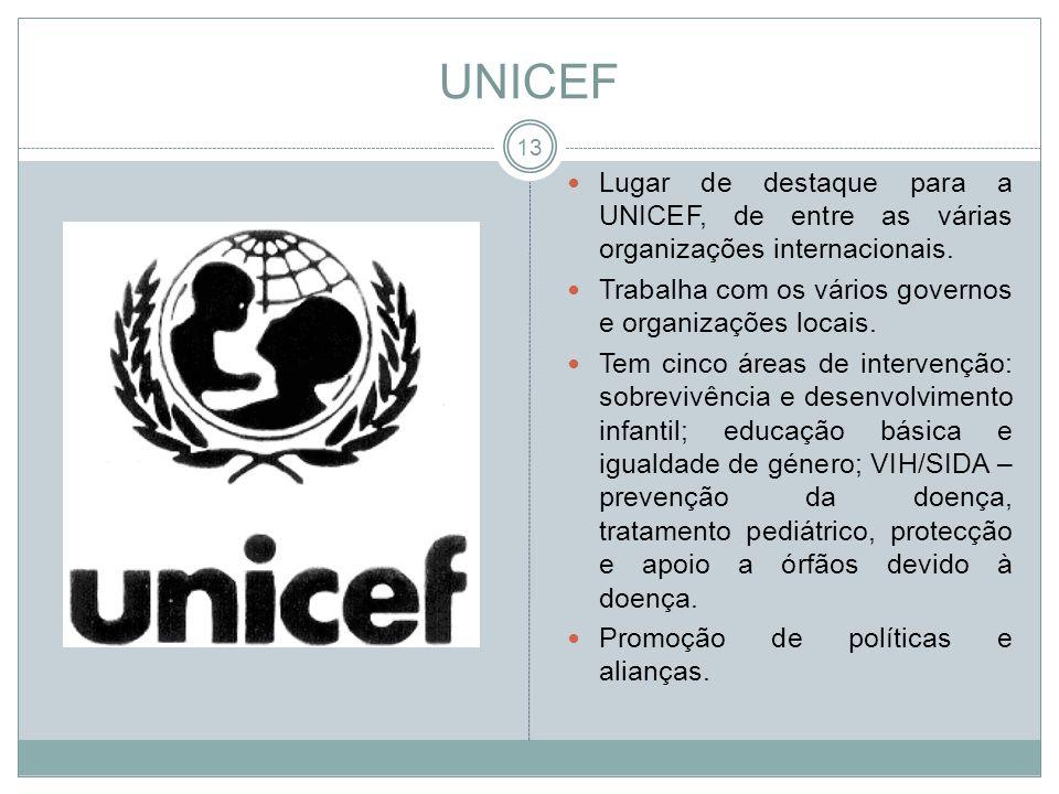 UNICEF Lugar de destaque para a UNICEF, de entre as várias organizações internacionais. Trabalha com os vários governos e organizações locais. Tem cin