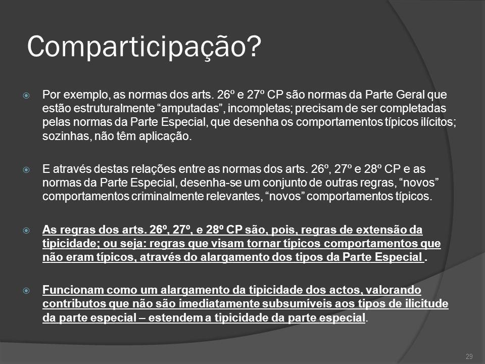 29 Comparticipação? Por exemplo, as normas dos arts. 26º e 27º CP são normas da Parte Geral que estão estruturalmente amputadas, incompletas; precisam