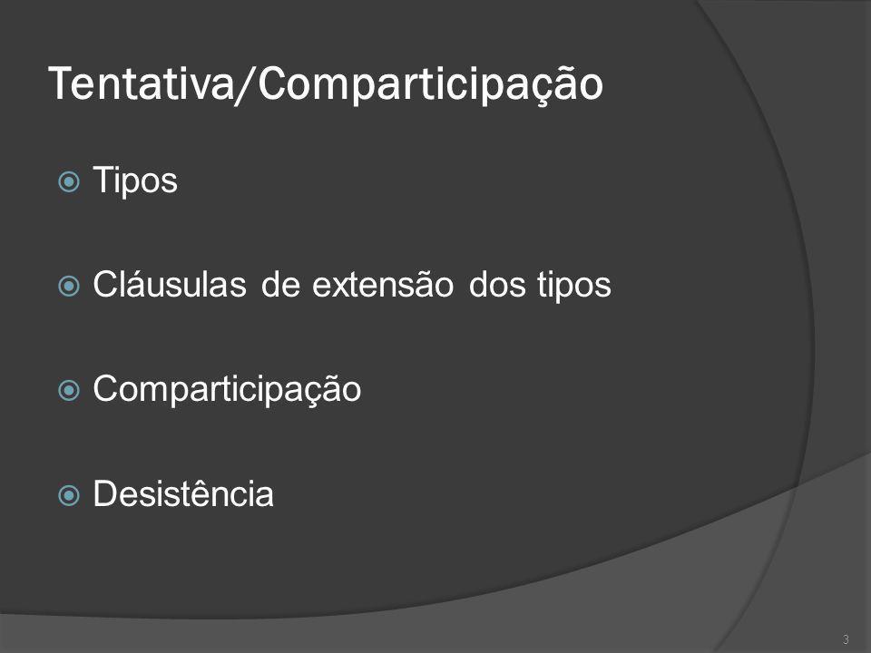 3 Tentativa/Comparticipação Tipos Cláusulas de extensão dos tipos Comparticipação Desistência