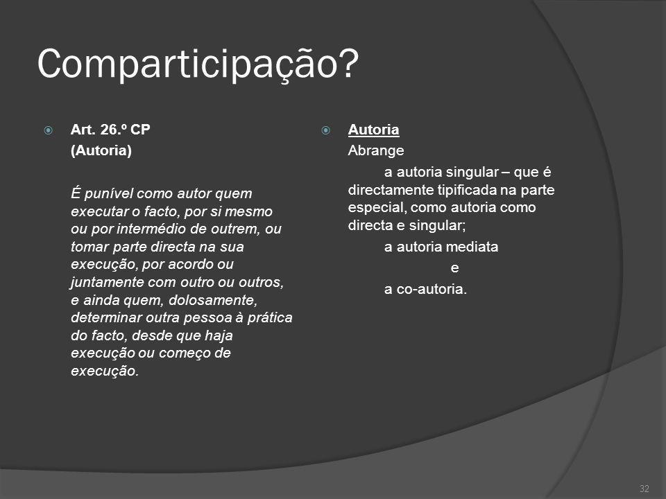 32 Comparticipação? Art. 26.º CP (Autoria) É punível como autor quem executar o facto, por si mesmo ou por intermédio de outrem, ou tomar parte direct