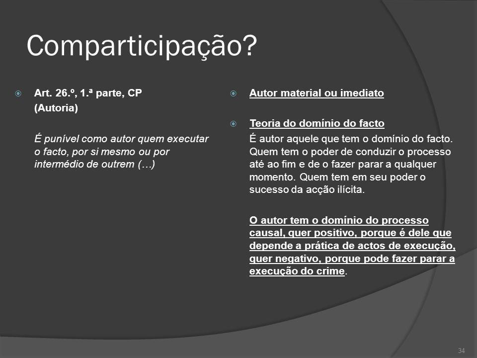 34 Comparticipação? Art. 26.º, 1.ª parte, CP (Autoria) É punível como autor quem executar o facto, por si mesmo ou por intermédio de outrem (…) Autor
