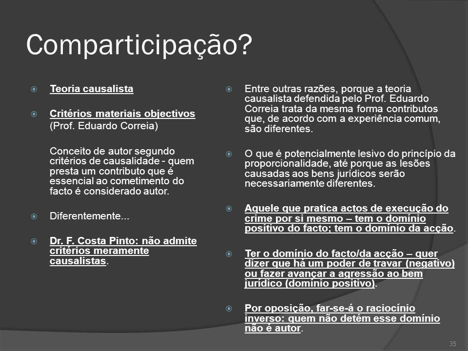 35 Comparticipação? Teoria causalista Critérios materiais objectivos (Prof. Eduardo Correia) Conceito de autor segundo critérios de causalidade - quem
