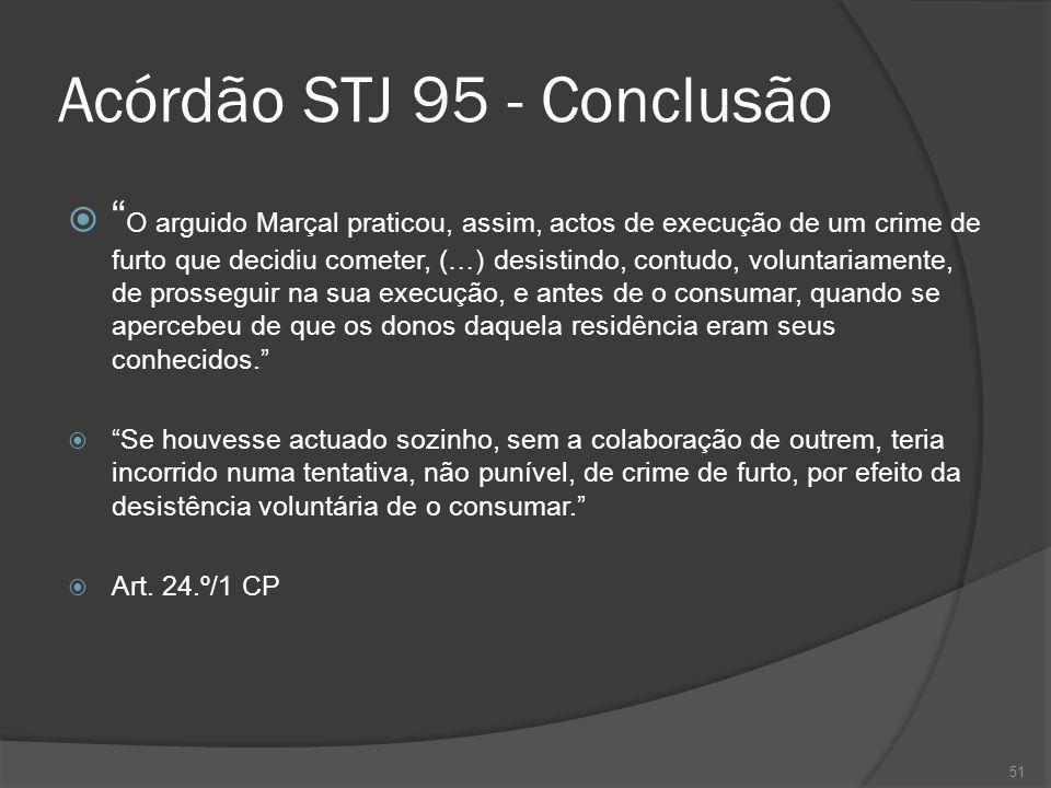 51 Acórdão STJ 95 - Conclusão O arguido Marçal praticou, assim, actos de execução de um crime de furto que decidiu cometer, (…) desistindo, contudo, v
