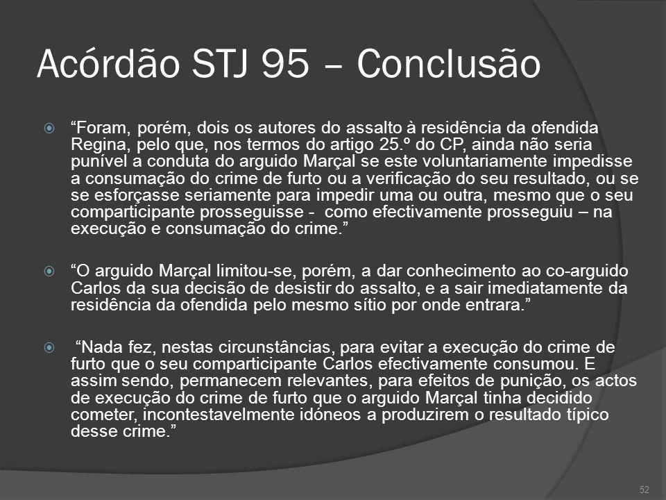 52 Acórdão STJ 95 – Conclusão Foram, porém, dois os autores do assalto à residência da ofendida Regina, pelo que, nos termos do artigo 25.º do CP, ain