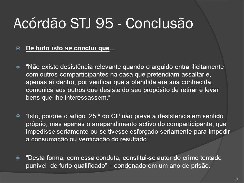 53 Acórdão STJ 95 - Conclusão De tudo isto se conclui que… Não existe desistência relevante quando o arguido entra ilicitamente com outros comparticip