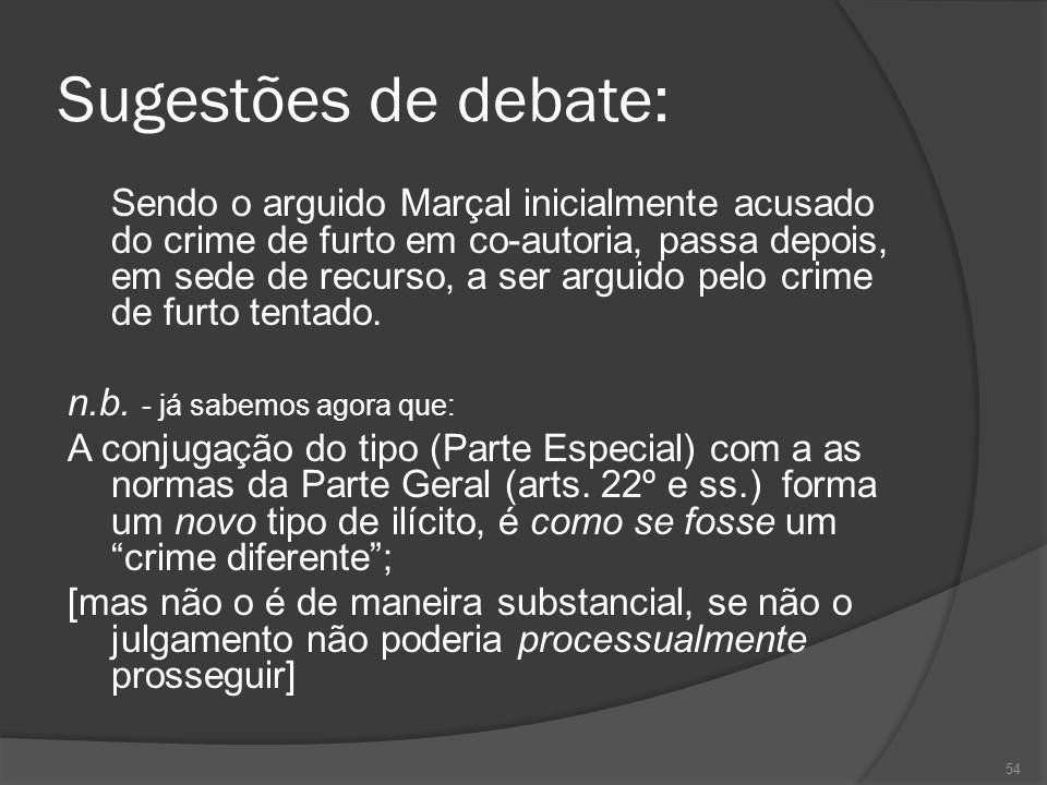 54 Sugestões de debate: Sendo o arguido Marçal inicialmente acusado do crime de furto em co-autoria, passa depois, em sede de recurso, a ser arguido p