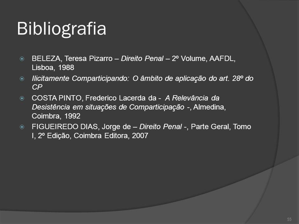 55 Bibliografia BELEZA, Teresa Pizarro – Direito Penal – 2º Volume, AAFDL, Lisboa, 1988 Ilicitamente Comparticipando: O âmbito de aplicação do art. 28
