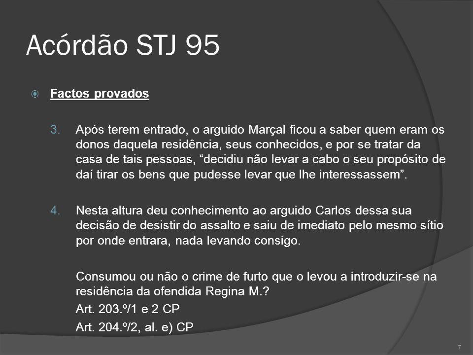 7 Acórdão STJ 95 Factos provados 3. Após terem entrado, o arguido Marçal ficou a saber quem eram os donos daquela residência, seus conhecidos, e por s