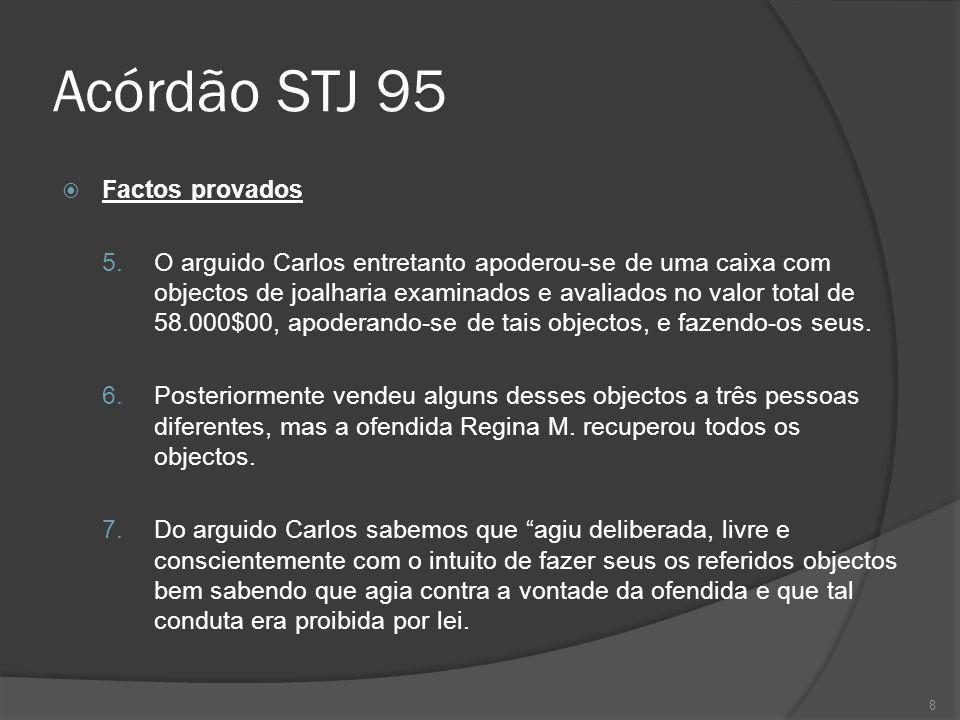 8 Acórdão STJ 95 Factos provados 5. O arguido Carlos entretanto apoderou-se de uma caixa com objectos de joalharia examinados e avaliados no valor tot