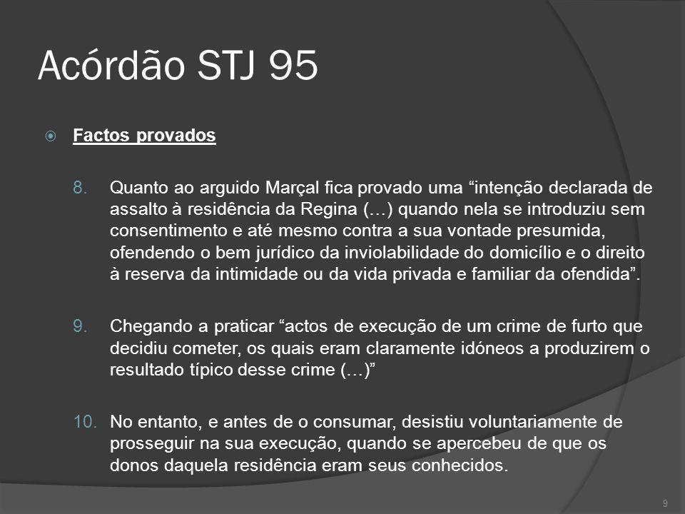9 Acórdão STJ 95 Factos provados 8. Quanto ao arguido Marçal fica provado uma intenção declarada de assalto à residência da Regina (…) quando nela se