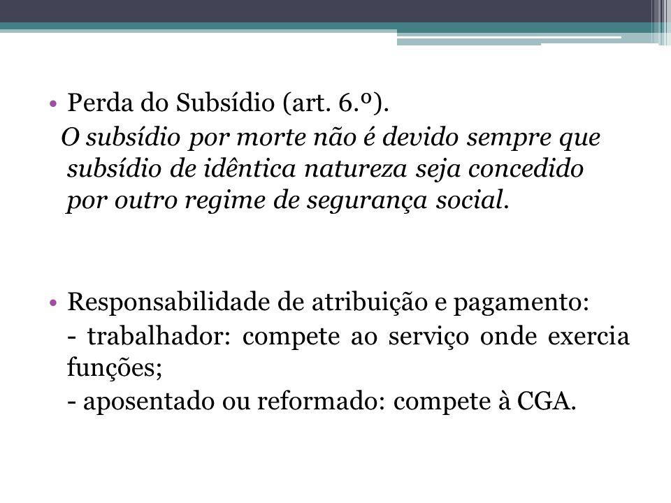 Perda do Subsídio (art. 6.º). O subsídio por morte não é devido sempre que subsídio de idêntica natureza seja concedido por outro regime de segurança