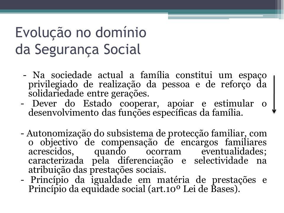 Evolução no domínio da Segurança Social - Na sociedade actual a família constitui um espaço privilegiado de realização da pessoa e de reforço da solid