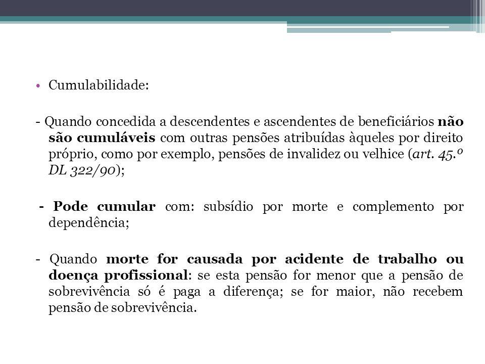Cumulabilidade: - Quando concedida a descendentes e ascendentes de beneficiários não são cumuláveis com outras pensões atribuídas àqueles por direito