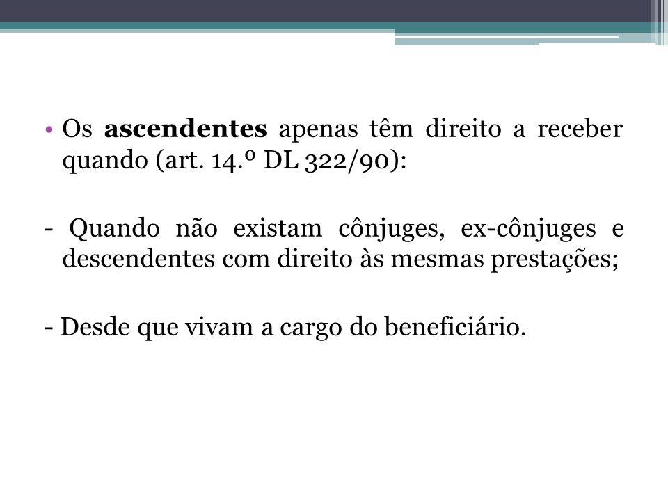 Os ascendentes apenas têm direito a receber quando (art. 14.º DL 322/90): - Quando não existam cônjuges, ex-cônjuges e descendentes com direito às mes
