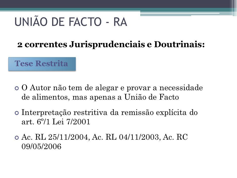 UNIÃO DE FACTO - RA 2 correntes Jurisprudenciais e Doutrinais: O Autor não tem de alegar e provar a necessidade de alimentos, mas apenas a União de Fa